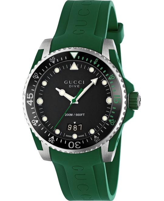 GUCCI Dive Black Green Rubber Watch 40mm