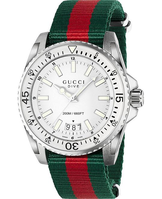 GUCCI Dive Silver Dial Red and Green Nylon Men's Watch 45MM