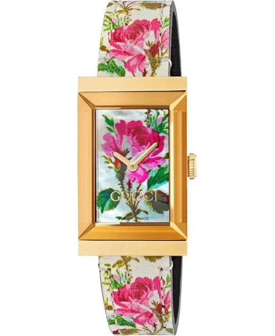 dong ho Gucci G-Frame Ivory Floral Motif Watch 21*31mm