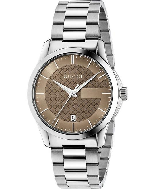 dong ho nam Gucci G-Timeless Chocolate Brown Watch 38mm
