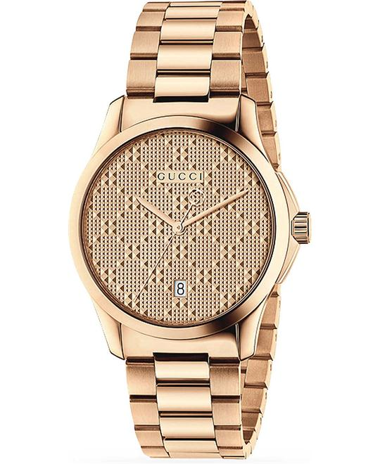 dong ho nam Gucci G-Timeless Rose Gold Dial Men's Watch 38mm