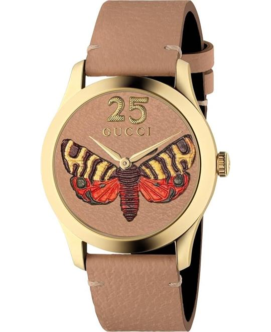 Gucci G-Timeless Tan Embroidered Butterfly Watch 38mm