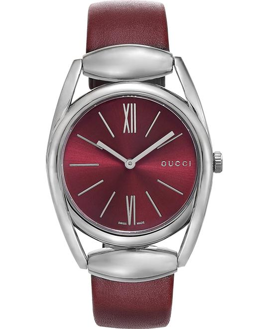 Gucci Horsebit  Black Leather Ladies Watch 34mm