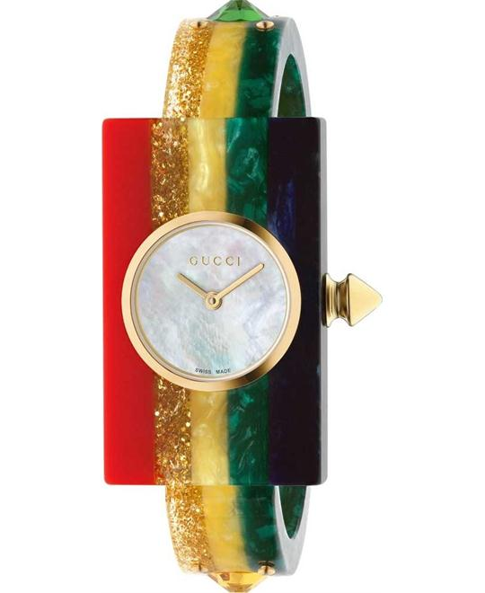 GUCCI Plexiglas Ladies Studded Bangle Watch 24x40mm