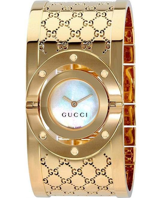 GUCCI Twirl G-Tone White Dial Ladies Bangle Watch 24mm