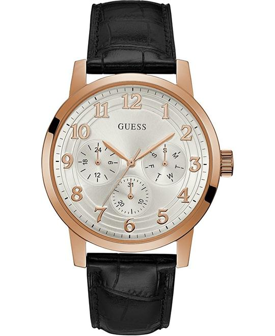 GUESS Black Leather Men's Watch 44mm