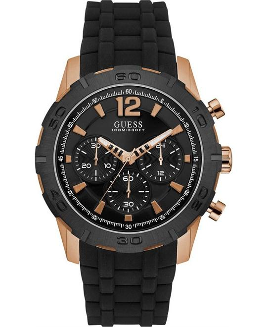 GUESS Chronograph Black Silicone Strap Watch 46mm