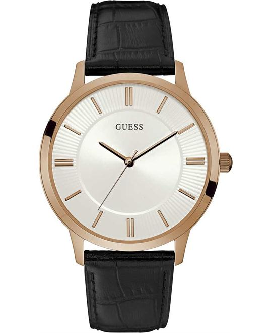 dong ho GUESS Escrow Black Leather Strap Watch 43mm