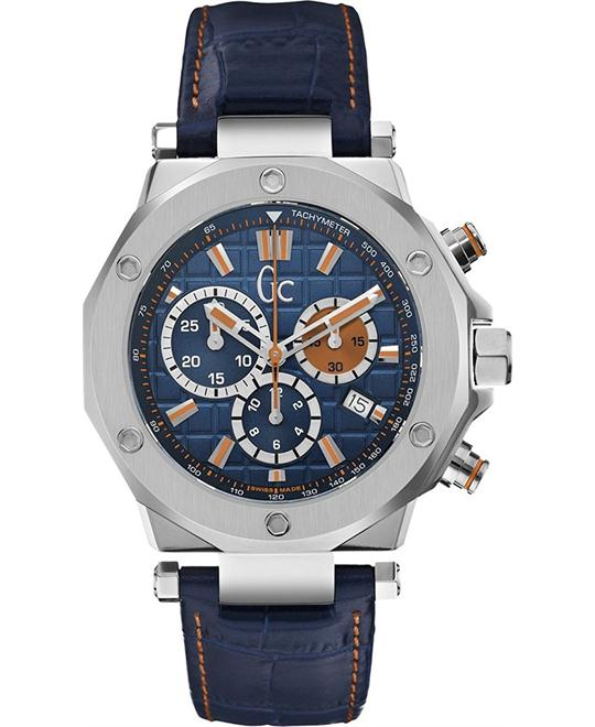 Guess Gc Collection Men's Leather Blue Watch 43mm