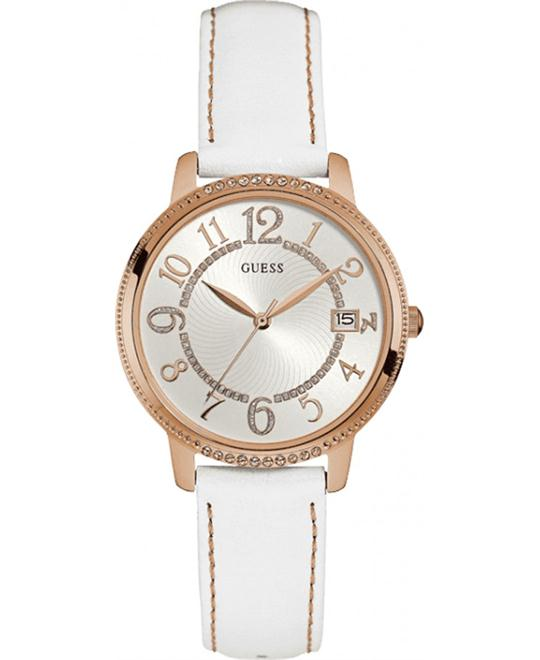 Guess Leather White-Rose Gold Watch 36mm