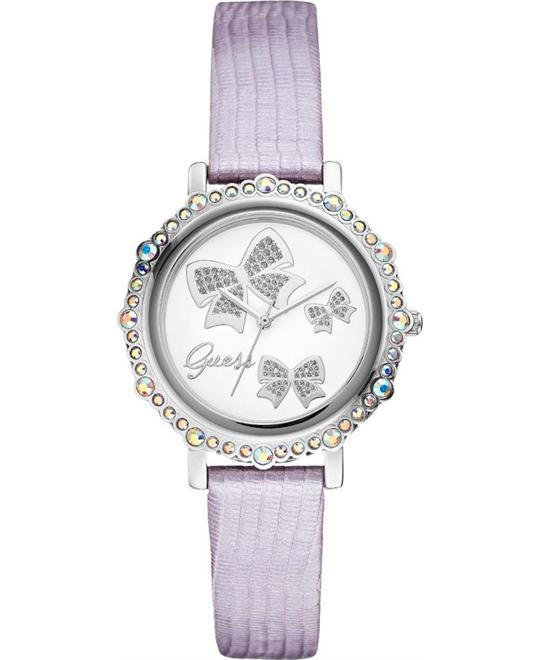 GUESS Lilac Metallic Leather Watch 35mm