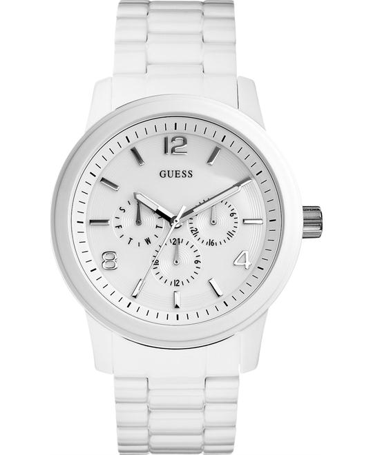 GUESS Unisex Stainless White Watch 45mm