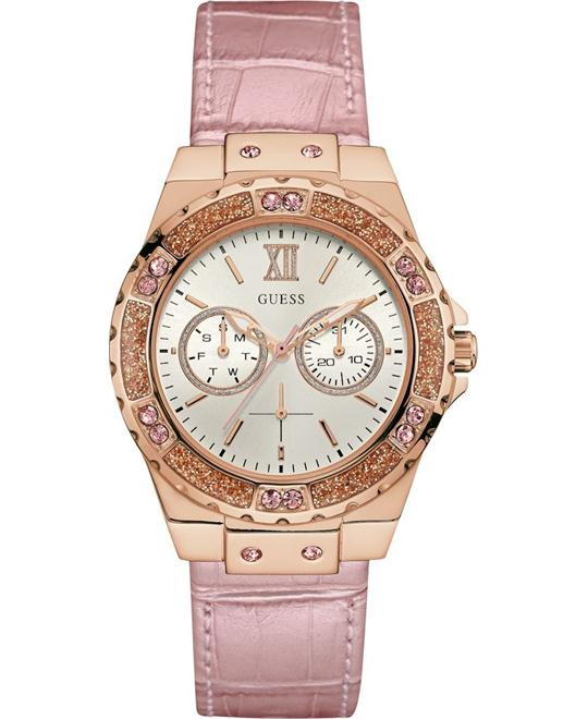 GUESS Metallic Pink Leather Strap Women's Watch 39mm