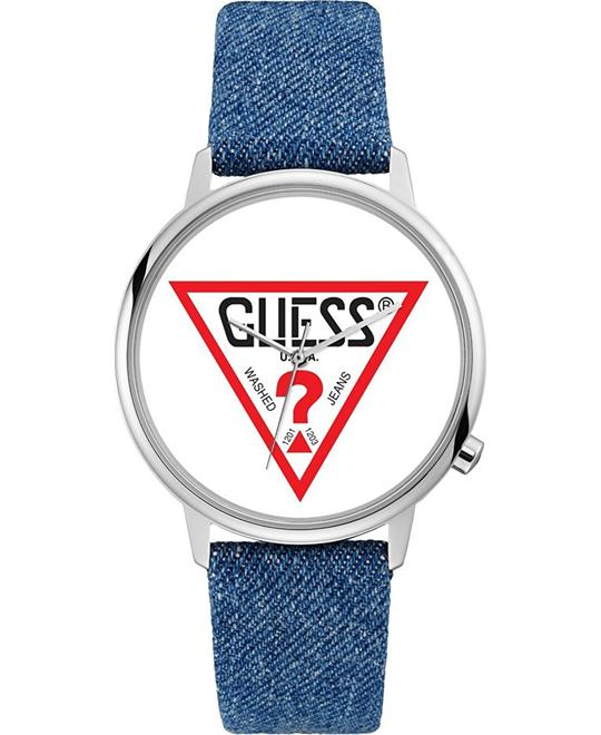 Guess Originals Silver-Tone and Denim Logo Watch 42mm