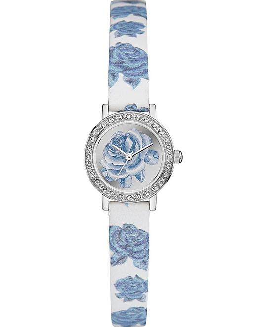 GUESS Pretty Floral White, Blue and Silver Watch 22.5mm