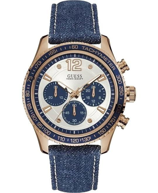 Guess Rose Gold Denim Men's Watch 44mm