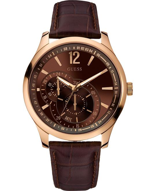 GUESS  Classic Brown Leather Men's Watch 45mm