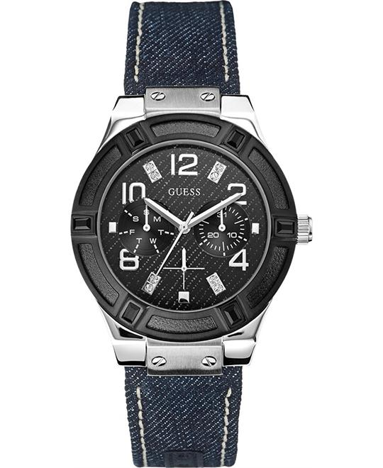 Guess Womans Blue Denim Multi Function Watch 39mm