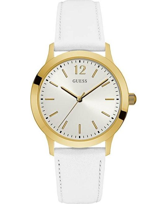 Guess Women's White Leather Strap Watch 39mm