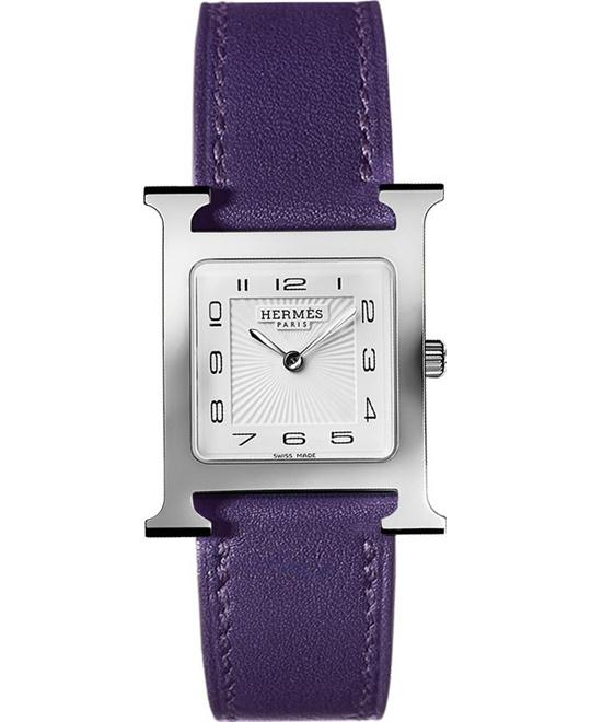 HERMES H Hour Ladies Leather Watch 30.5mm