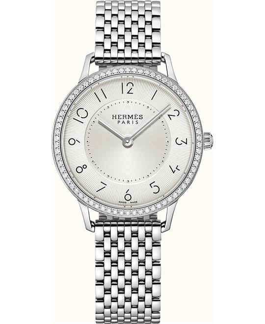 Hermes Slim W041706WW00 Diamonds Steel Watch 32mm
