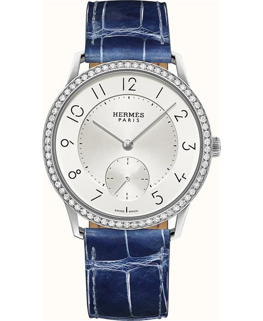 Hermes Slim W043200WW00 Diamonds Steel Auto Watch 39.5mm