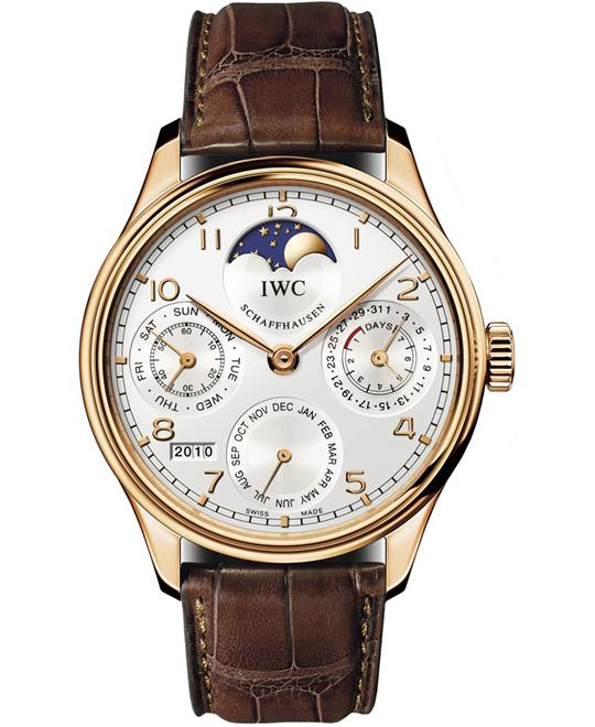 IWC IW502306 Mens 18kt Rose Gold Sapphire Leather 44.2mm