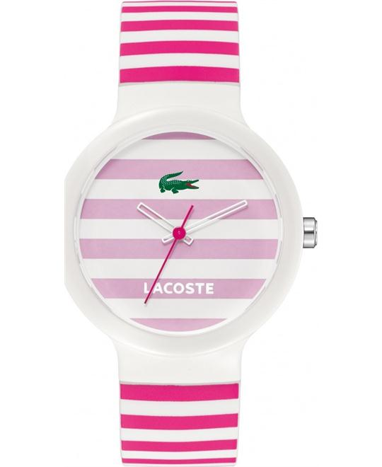 Lacoste Goa Stripe Pink and White Silicone Women Watch 40mm