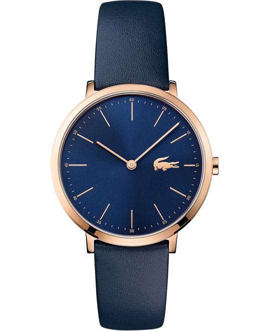 LACOSTE MOON WOMEN NAVY LEAtHER STRAP WATCH 35MM
