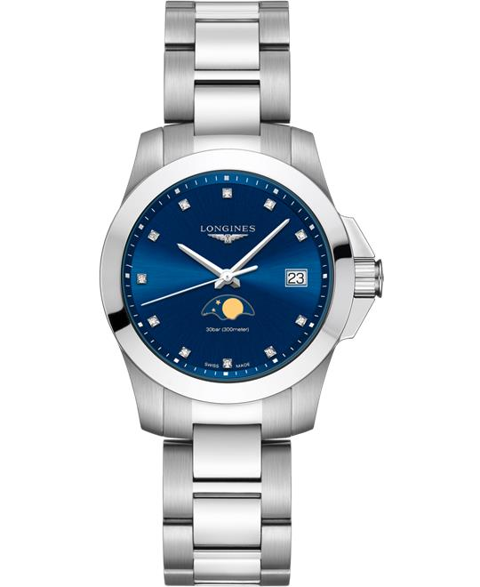 đồng hồ nữ Longines Conquest L3.381.4.97.6 Moonphase Diamond 34mm