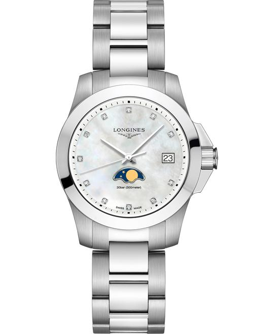 đồng hồ nữ thể thao Longines Conquest L3.381.4.87.6 Watch 34mm