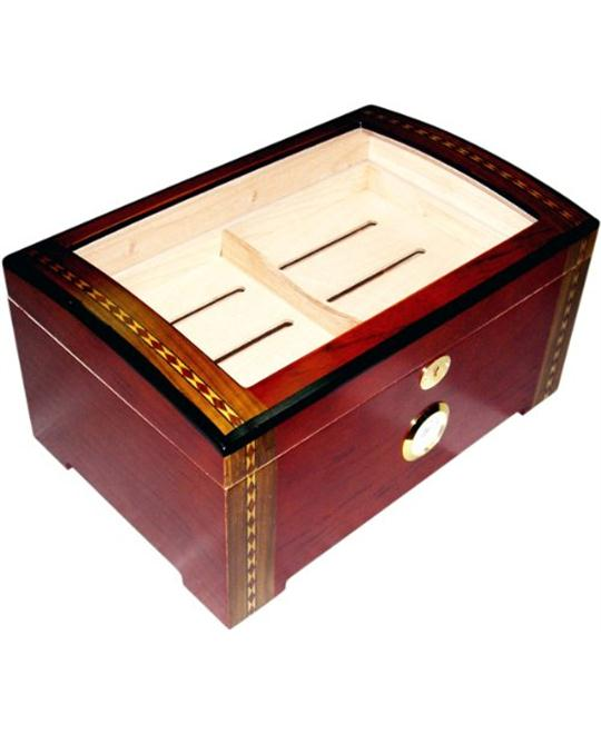 LUXURY RED WOOD CLEAR TOP WOOD CIGAR HUMIDOR