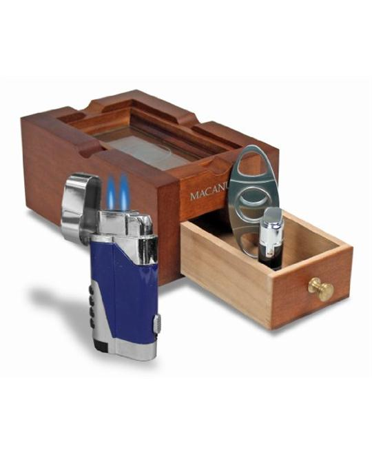 Macanudo 3 in 1 Ashtray Set with Cigar Cutter and Double Torch Lighter