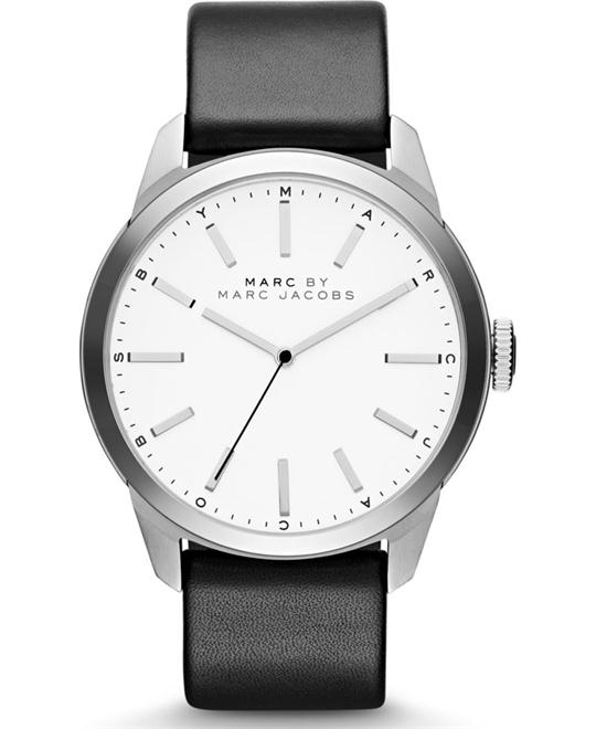 Marc by Marc Jacobs Men's Black Leather Band Watch 44mm