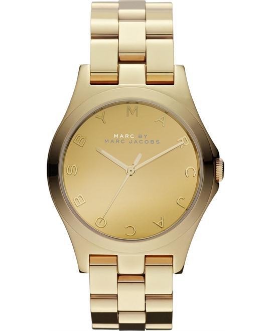 Marc by Marc Jacobs Henry Glossy All Goldtone Watch,\36mm