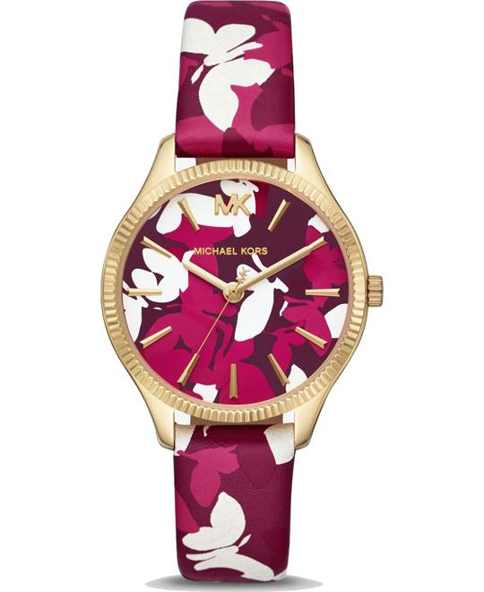 dong ho Michael Kors Lexington Pink Floral Printed Watch 36mm
