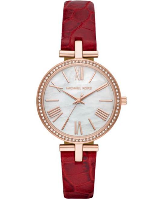đồng hồ nữ màu đỏ Michael Kors Maci Three-Hand Red Watch 34mm