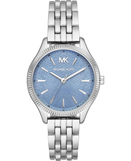 dong ho Michael Kors Mini Lexington Silver-Tone Watch 36mm