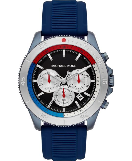 Michael Kors Oversized Theroux Blue-Tone and Silicone Watch 45mm