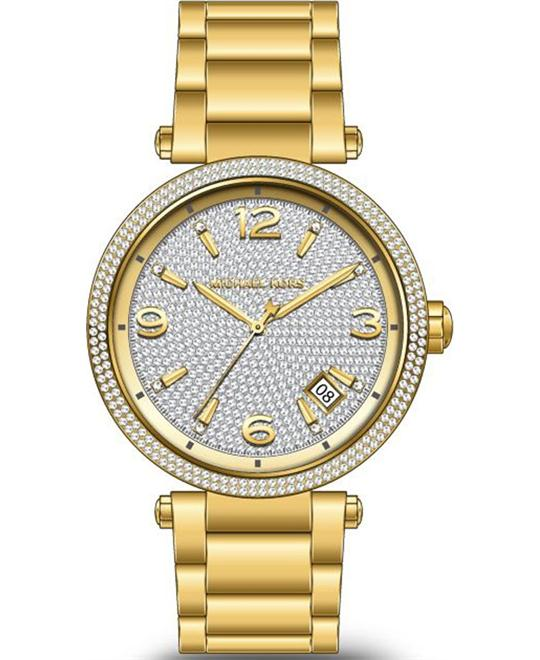 dong ho Michael Kors Parker Gold-Tone Pavé Glitz Watch 38mm