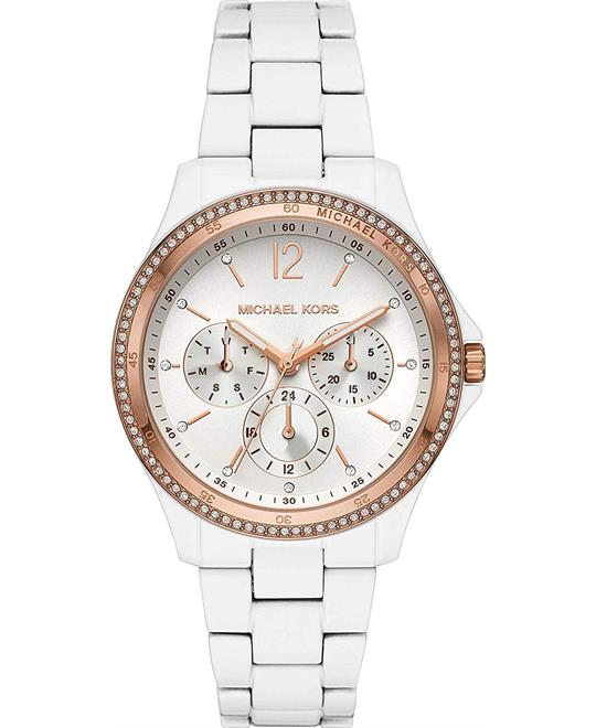 Michael Kors Riley Multifunction White Watch 39mm