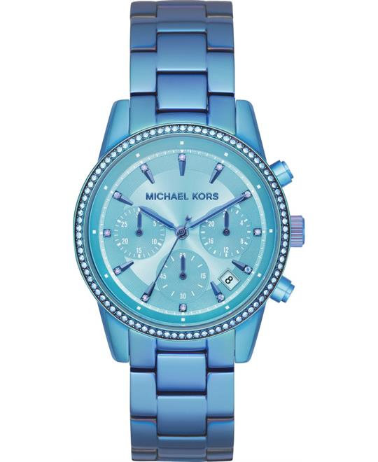 đồng hồ Michael Kors Ritz Chronograph Iridescent Blue Watch 37mm
