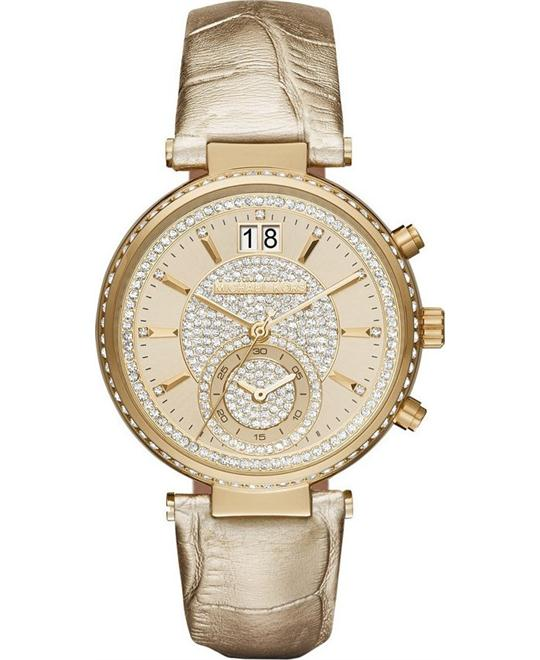 Michael Kors Sawyer Leather Ladies Watch 39mm