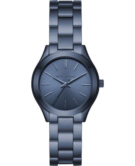 Michael Kors Slim Runway Navy-Tone Watch 33mm