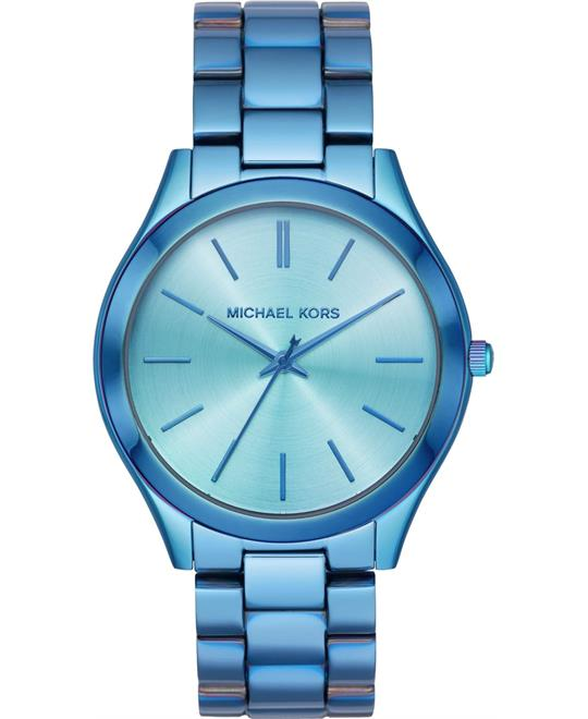 đồng hồ Michael Kors Slim Runway Three-Hand Iridescent Blue Watch 42mm