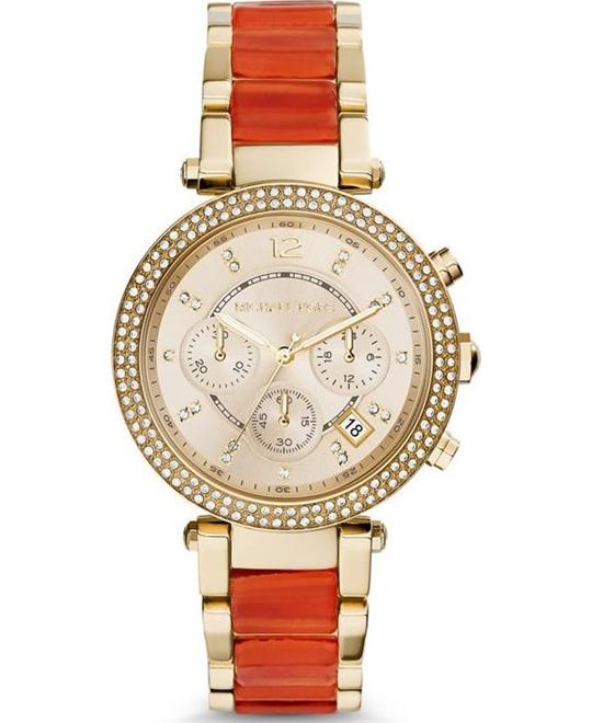 Michael Kors Parker Orange Acetate Women's Watch 39mm