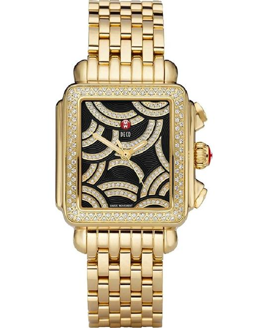 Michele Art of Deco Gold-plated Ladies Watch 33x35mm