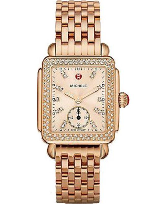 Michele Deco 16 Diamond Rose Gold Beige Watch  29x31mm