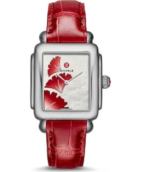 Michele Ginkgo Dial Garnet Alligator Watch 29*31