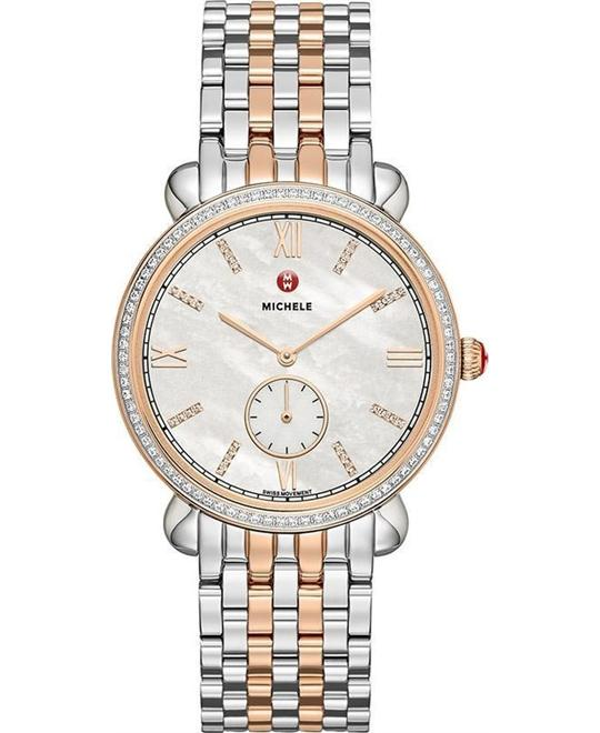 Michele Gracile White Mother of Pearl Dial Ladies Watch 36mm